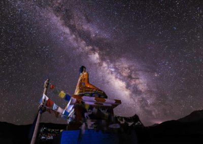 Buddha under the Milky way
